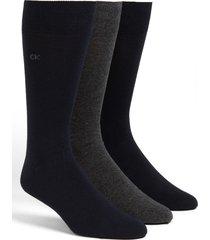 men's calvin klein assorted 3-pack socks, size one size - blue