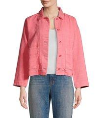 eileen fisher women's organic cotton jacket - tulip - size l