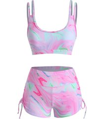 agate print side cinched ruched boyshorts tankini swimwear