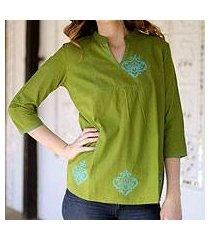 cotton blouse, 'goa green' (india)
