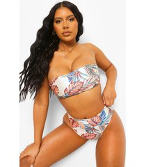 tropische strapless bikini top, white