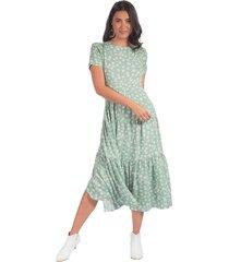 vestido adrissa midi faroles estampacion mini print verde menta