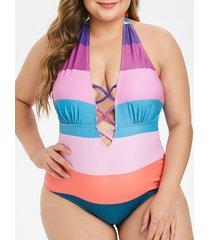 plus size halter crisscross open back one-piece swimsuit