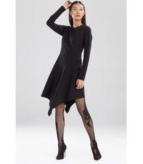 compact knit crepe asymmetric flounce dress, women's, black, size 8, josie natori
