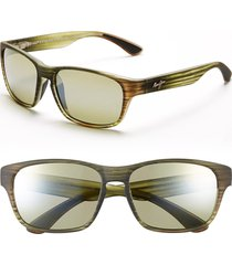 men's maui jim 'mixed plate - polarizedplus2' 58mm sunglasses - matte green stripe/ maui ht
