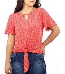blusa feminina poá bolinha gota amarração viscolycra verão - feminino