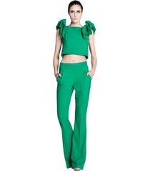 spodnie dzwony zielone