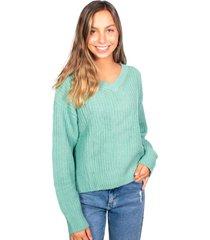 sweater oversize cuello v menta efesis