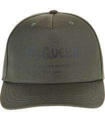 alexander mcqueen man military green mcqueen graffiti baseball cap