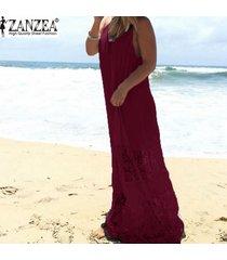 zanzea vestido de encaje para mujer 2018 verano casual vestido largo largo suelto vestidos de playa sexy sin mangas vestidos sólidos tallas grandes xs-5xl claret -púrpura