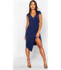 cap sleeve wrap midi dress, navy