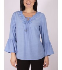 ny collection 3/4 sleeve v-neck blouse with crochet trim and tie