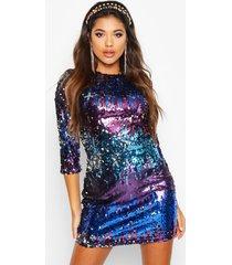 boutique multi sequin bodycon dress, blue
