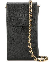 chanel pre-owned 1996-1997 chain shoulder bag phone case - black