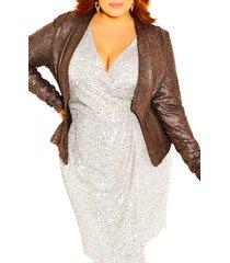 plus size women's city chic shining light jacket, size x-large - metallic