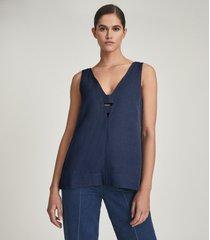 reiss emi - linen blend v-neck top in mid blue, womens, size 14