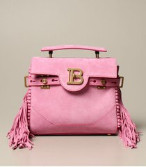 balmain handbag b-buzz balmain bag in suede with fringes and monogram