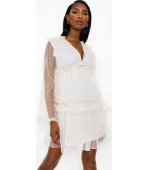 dobby frill detail tiered swing dress, nude