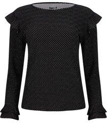 camiseta estampada manga larga con arandelas color negro, talla xs