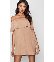 off the shoulder swing dress, taupe