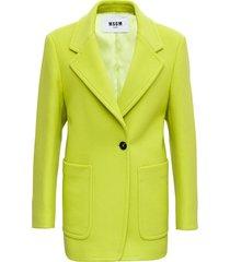msgm acid green wool blazer