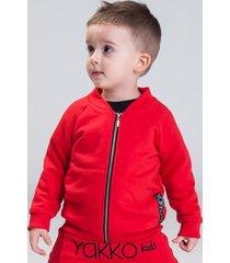 bluza bomber z haftem czerwona