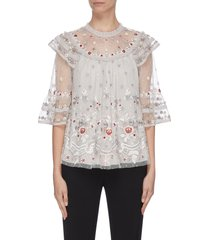'eden' floral embroidered sequin embellished lace trim ruffle flared tulle top