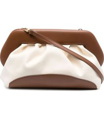 themoirè brown and white cotton and bios vegan nappa clutch bag