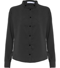 camisa feminina gola destacável - preto