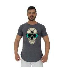 camiseta longline alto conceito caveira popstar mescla preto