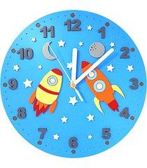 zegar dla dziecka z rakietami