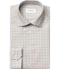 medallion print signature twill slim shirt