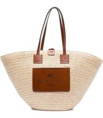 etro woven straw tote bag - neutrals