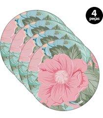 capa para sousplat mdecore flor verde 4pçs