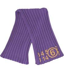 mm6 maison margiela embroidered number print rib-knit scarf - purple