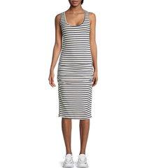 monrow women's striped tank dress - navy natural - size xs