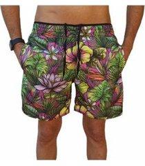 bermuda short moda praia estampados flores relaxado masculina