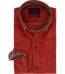 overhemd portofino regular fit oranje ribstof