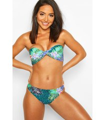 tropical leopard twist bandeau bikini, green