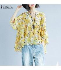 zanzea mujeres largo de la cascada de la manga tapas de la camisa de cuello v suelta la impresión floral de la blusa -amarillo