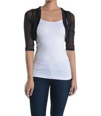 fashion secrets women sheer chiffon bolero mesh shrug jacket cardigan 3/4 sleeve