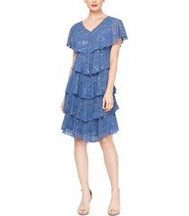 sl fashions embellished tiered shift dress