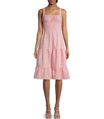 bcbgeneration women's smocked knee-length dress - coral - size xs