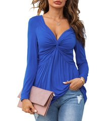 ruched twist front tunic top