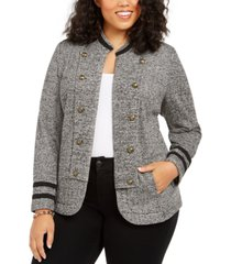 tommy hilfiger plus size military band jacket