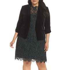 plus size women's eliza j ruched sleeve velvet blazer