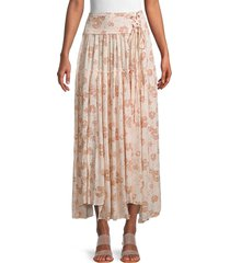 free people women's floral-print maxi skirt - pink - size xl