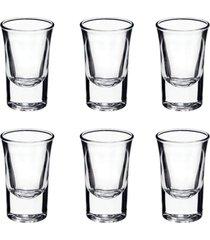 conjunto de 6 copos para shot bebidas vidro para festas enfeite 35 ml - incolor - dafiti