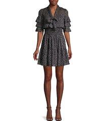 cheetah-print silk & cotton-blend mini dress