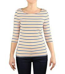 saint james garde-cote iii white orange 3/4 sleeved t-shirt